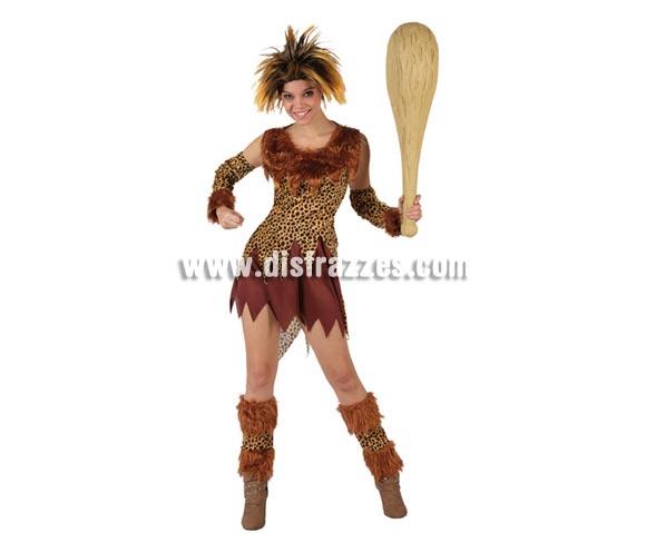 Disfraz de Troglodita o Cavernícola para mujer. Talla XL = 44/48. Incluye vestido, manguitos y polainas. Peluca y maza o porra NO incluida, podrás ver algunos modelos en la sección de Complementos.