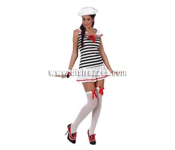 Disfraz de Marinera Sexy para mujer. Talla 2 ó talla Standar M-L = 38/42. Incluye vestido y gorro. Zapatos, medias y pulseras NO incluidas. Las medias y las pulseras las podrás ver en la sección de Complementos.