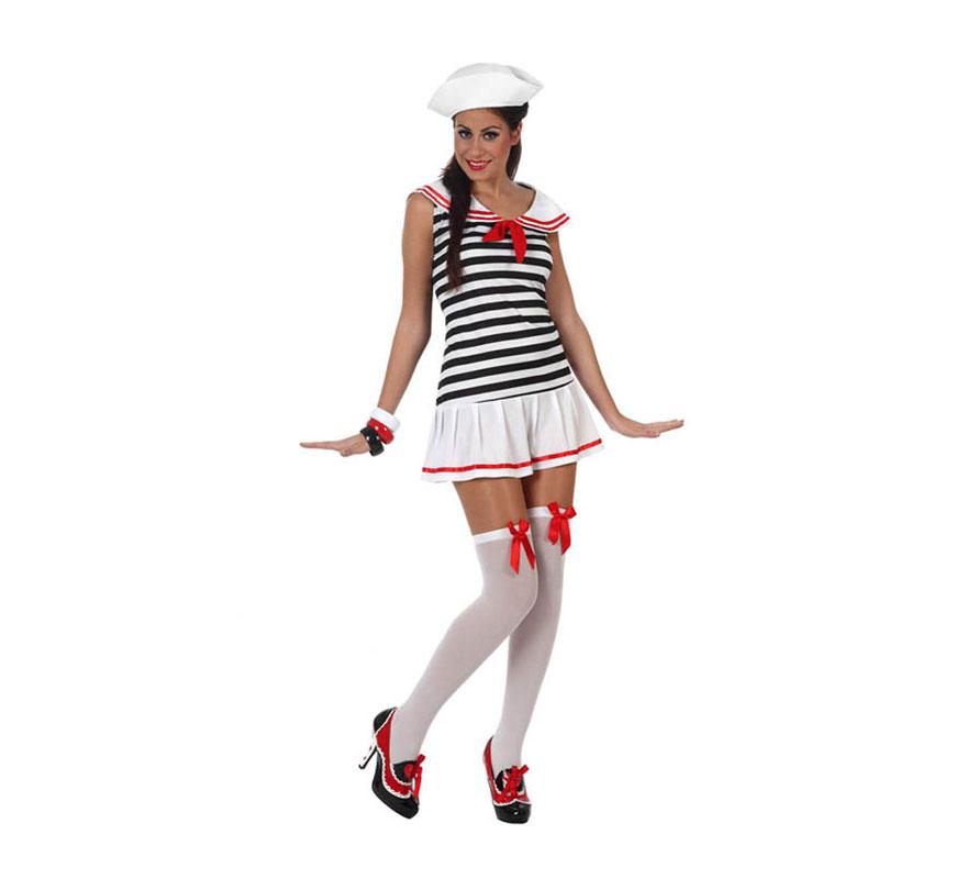 Disfraz de Marinera Sexy para mujer. Talla 3 ó talla XL = 44/48. Incluye vestido y gorro. Zapatos, medias y pulseras NO incluidas. Las medias y las pulseras las podrás ver en la sección de Complementos.