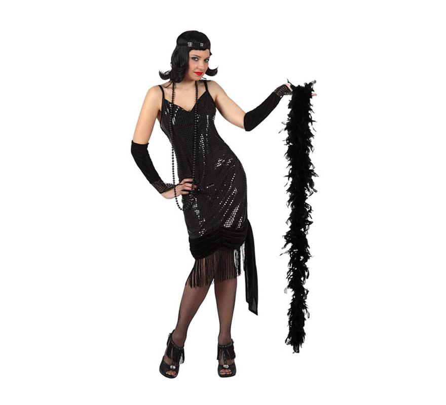 Disfraz de Charlestón Negro para mujer. Talla 3 ó talla XL =  44/48. Incluye Vestido y tocado. Boa NO incluida, podrás verla en Complementos.