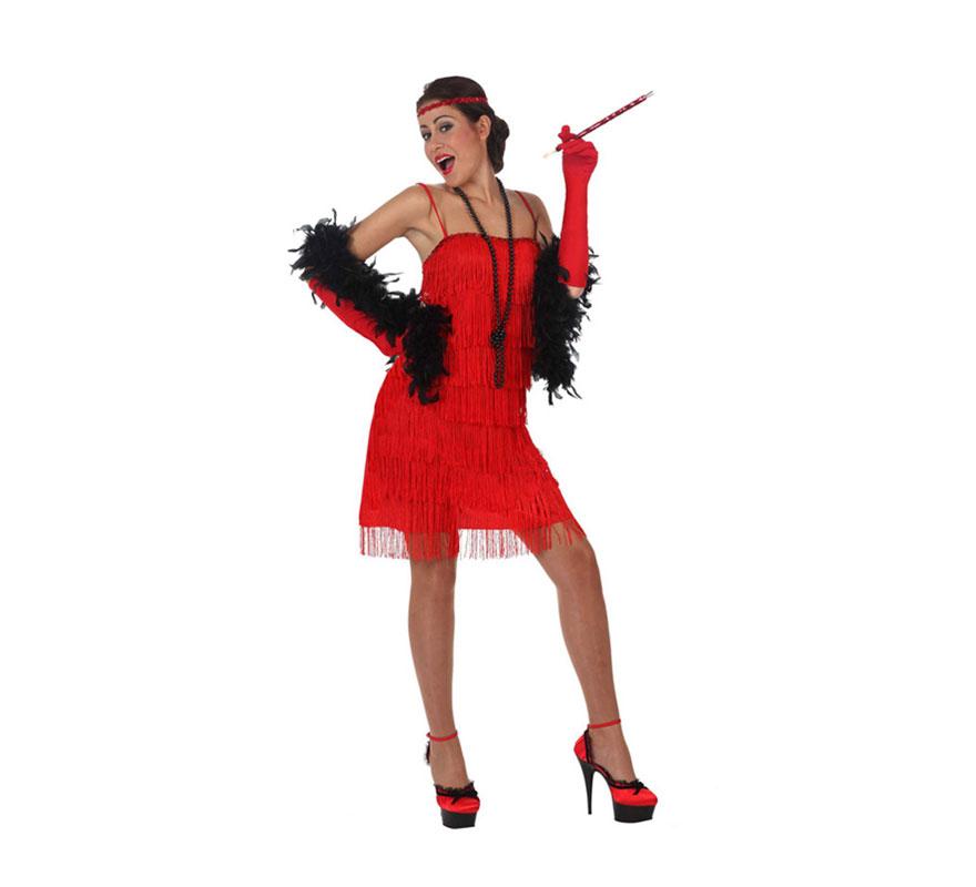 Disfraz de Charlestón Rojo para mujer. Talla 2 ó talla Standar M-L 38/42. Incluye vestido,guantes y cinta de la cabeza. Boa y pipa NO incluidas, podrás encontrarlas en nuestra sección de Complementos.
