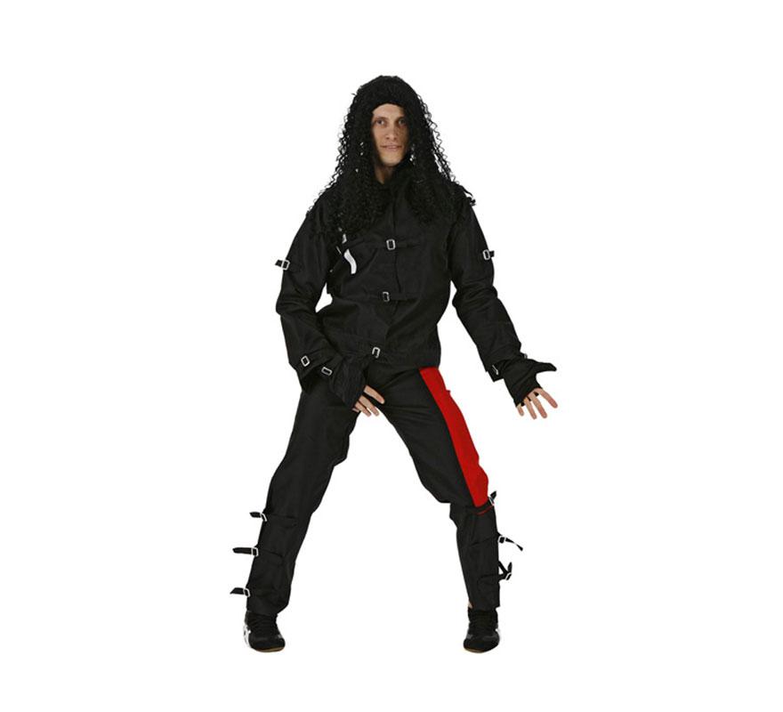 Disfraz barato de Rey del Pop para hombre. Talla 2 ó talla Standar M-L = 52/54. Incluye chaqueta y pantalón. Para ir igual que Michael Jackson.