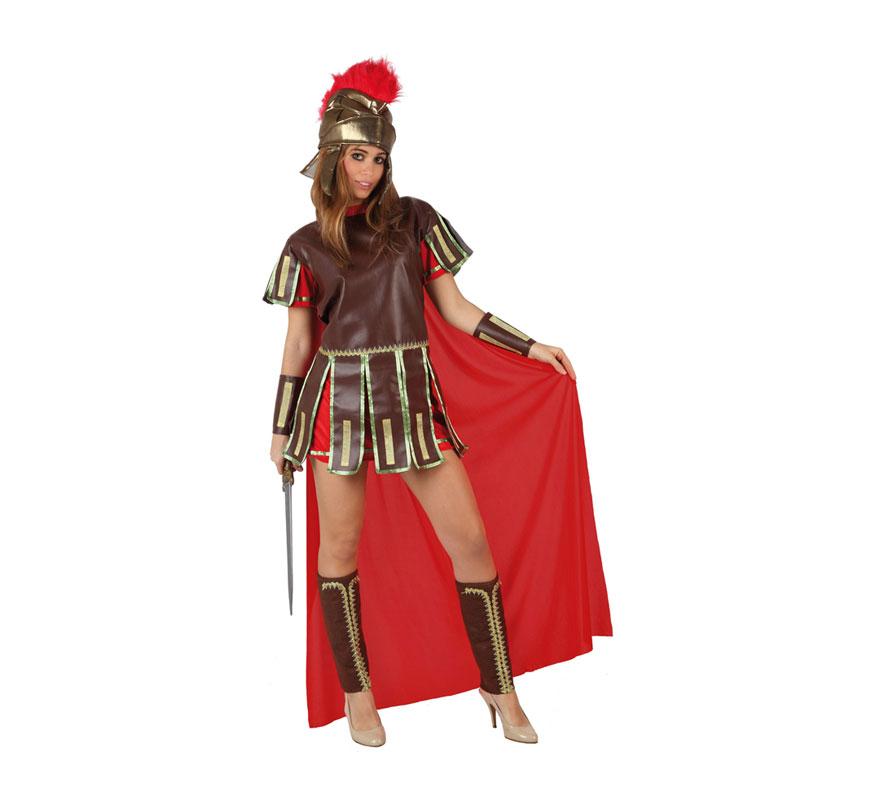 Disfraz de Guerrera Romana Sexy para mujer. Talla 3 ó talla XL = 44/48. Incluye casco, túnica con capa, muñequeras y espinilleras.