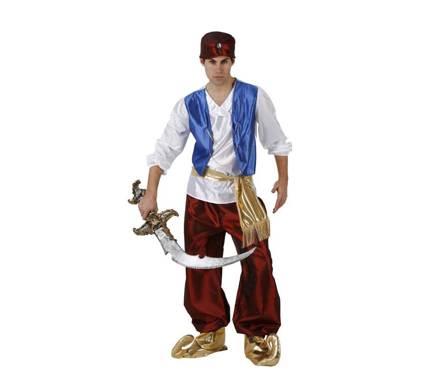 Disfraz de Príncipe Árabe granate para hombre. Talla 3 ó talla XL 54/58. Incluye camisa con chaleco, pantalón, fajín, babuchas y gorrito. Espada NO incluida, podrás verla en la sección de Accesorios. Éste disfraz también valdría como Paje Real de los Reyes Magos para Navidad.