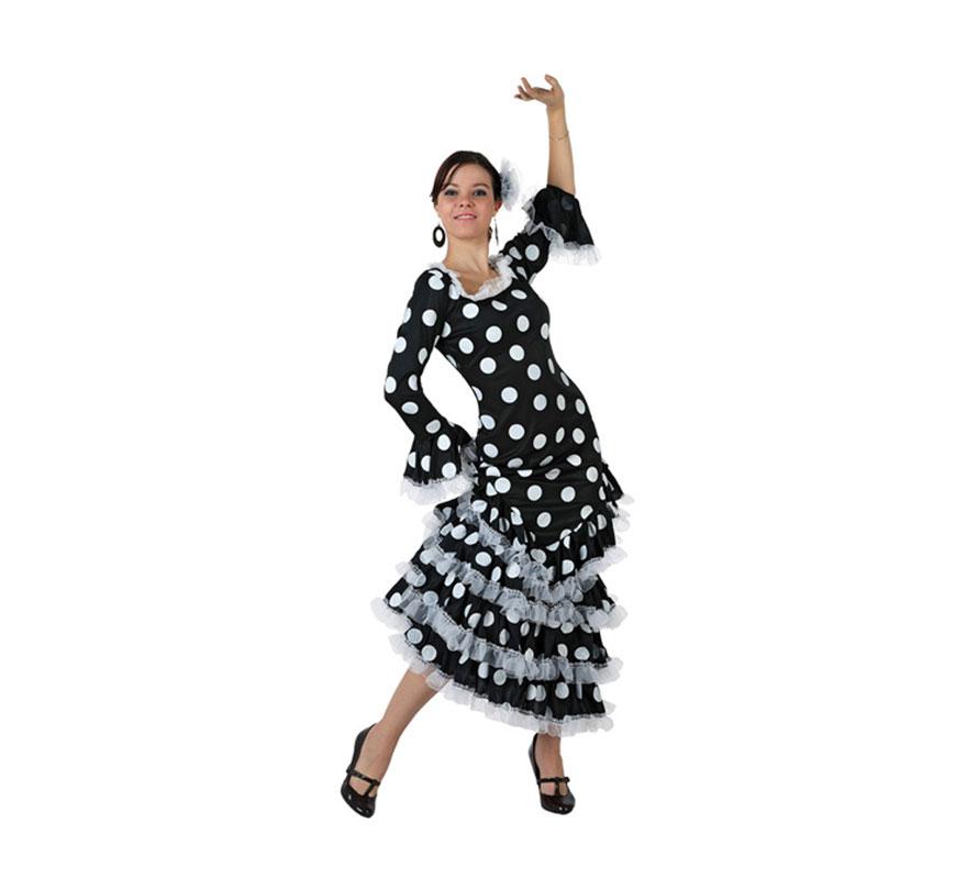 Disfraz de Faralae negro con lunares blancos para mujer. Talla standar M-L = 38/42. Incluye el vestido. Éste es un bonito traje de Andaluza o Sevillana de mujer.