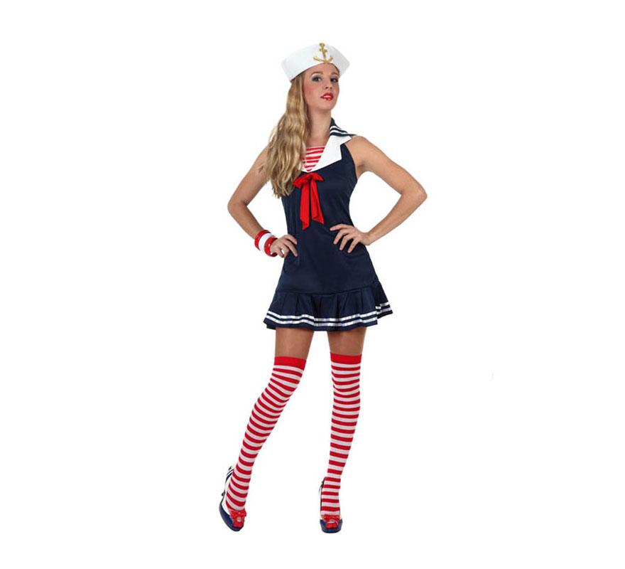 Disfraz barato de Marinera sexy para mujer. Talla 2 ó talla Standar M-L = 38/42. Incluye vestido y gorro.