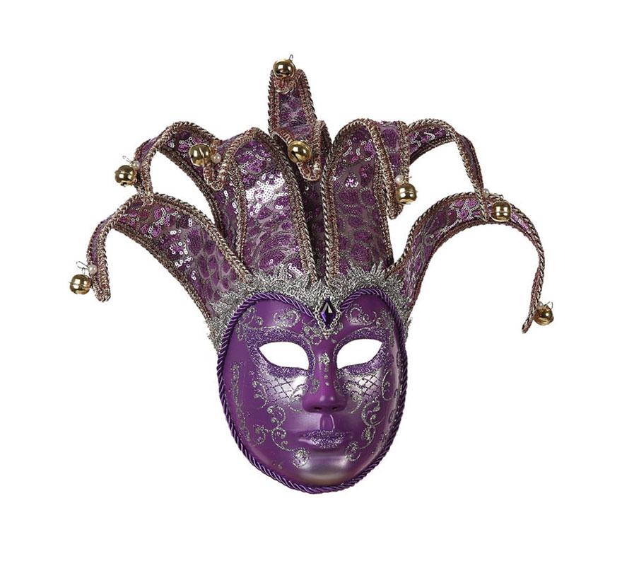 Máscara Veneciana Arlequín Púrpura de 24x17 cm. con lentejuelas y cascabeles. Talla Universal.