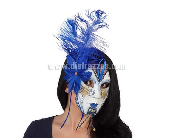 Máscara Veneciana Azul de 19x15 xm. con plumas azules. Talla Universal.