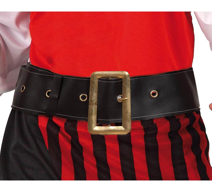 Cinturón de Pirata o de Papá Noel con hebilla dorada. También sirve como cinturón para el disfraz de Enterrador en Halloween.
