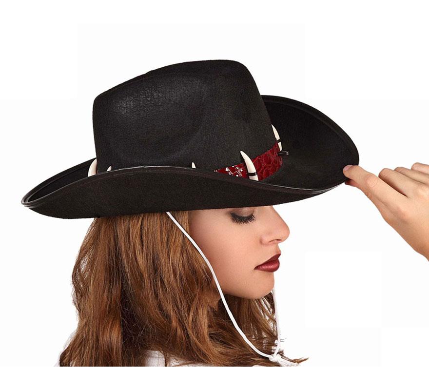 Sombrero Vaquero o Cowboy selva negro con colmillos de 39x30 cm.