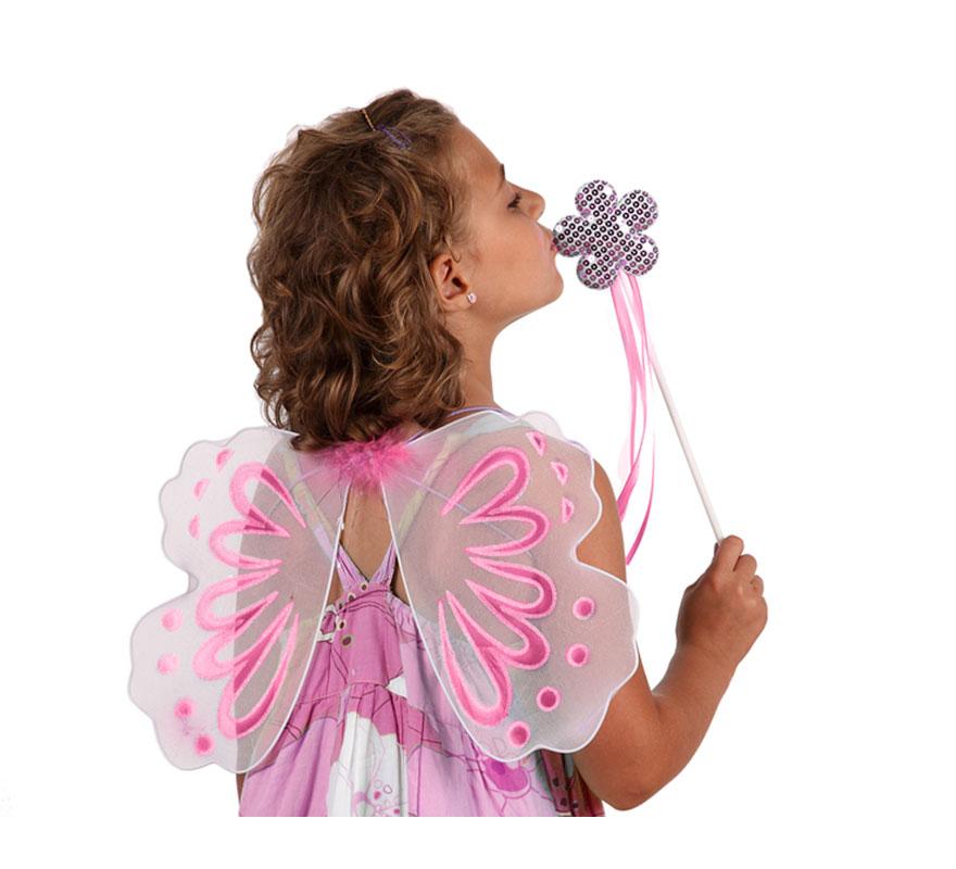 Alas Mariposa con varita de 50x29 cm. Tres colores surtidos. Precio por unidad, se venden por separado.