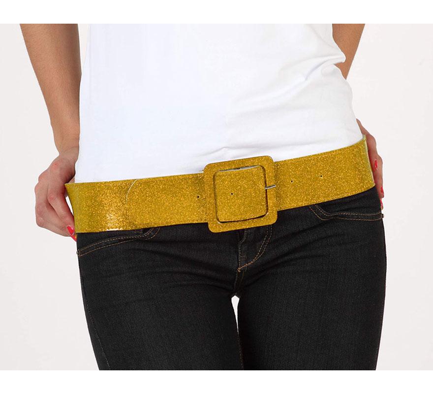 Cinturón o Correa brillante de color oro. Ideal como complemento de los disfraces de los años 60, 70 y 80.