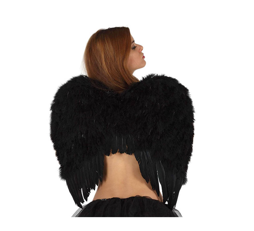 Alas de Ángel con plumas negras de 58x55 cm.