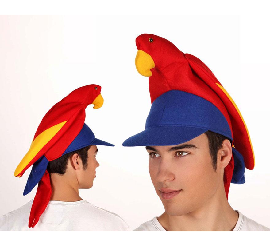 Gorra o gorro de Loro multicolor. Ideal como complementos para los disfraces de Pirata.