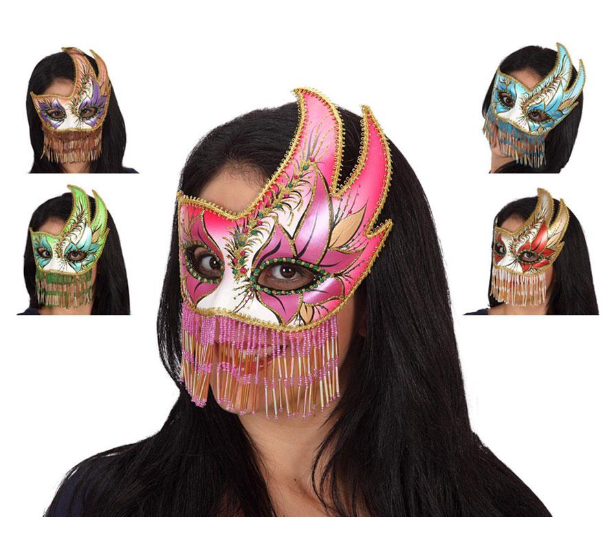 Máscara Veneciana Fiesta de 20x18 cm. Talla Universal. Cinco modelos surtidos, precio por unidad, se venden por separado.