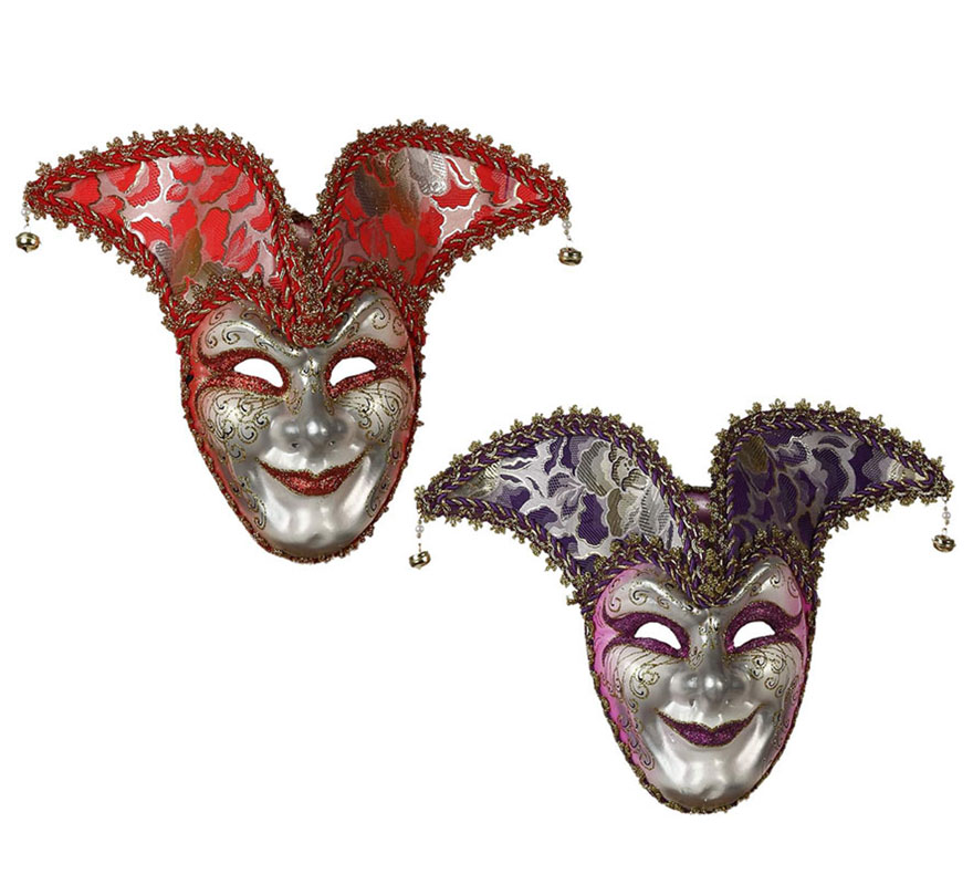 Máscara Veneciana Arlequín con cascabeles 2 colores