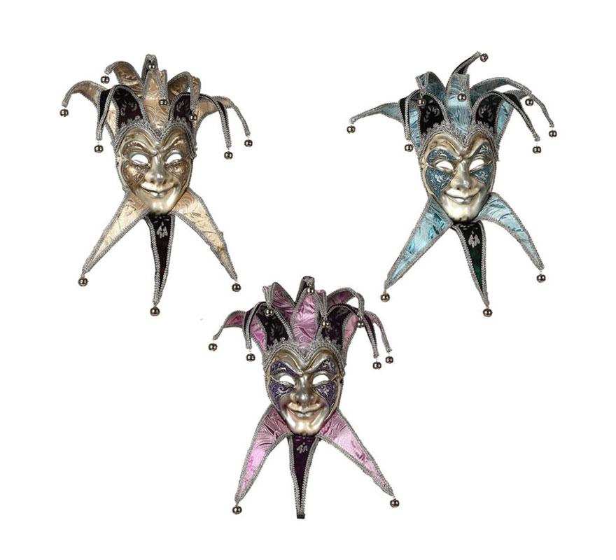 Máscara Veneciana Arlequín con cascabeles 3 colores surtidos. Precio por unidad, se venden por separado.
