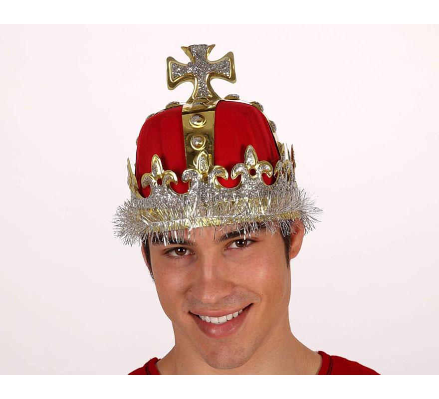 Corona o Turbante de Rey lujo de PVC y fieltro con cruz de 19 cm de diámetro.