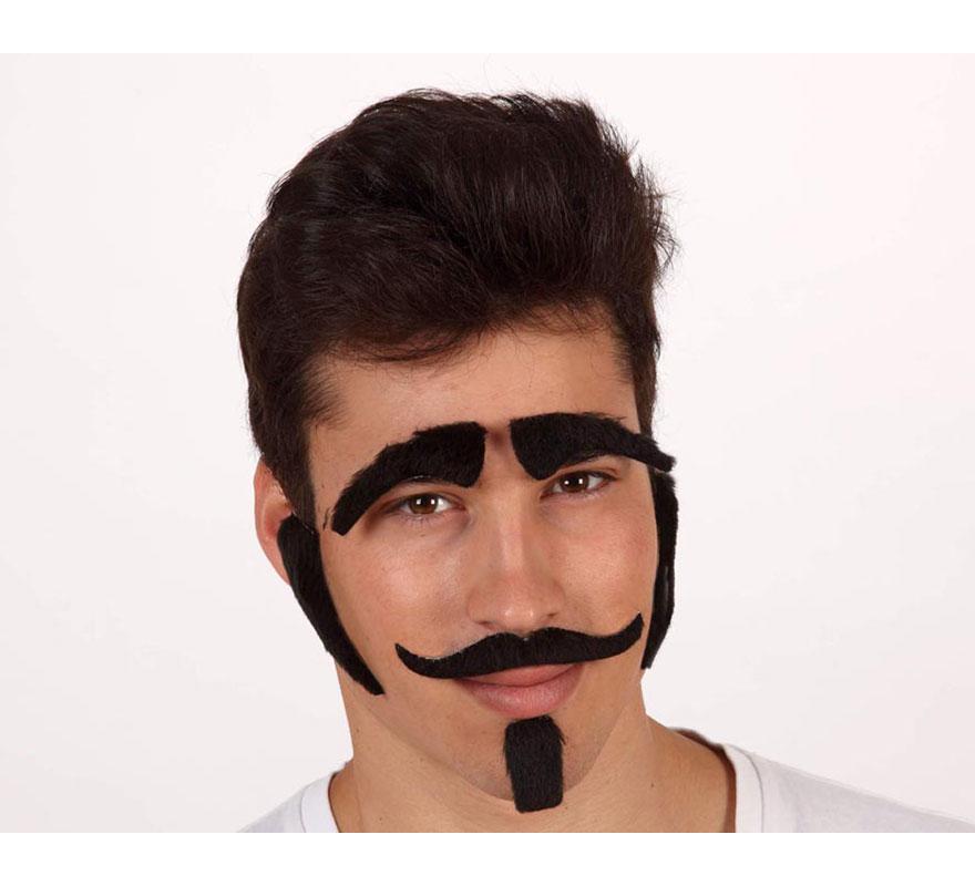 Set de cejas, bigote, patillas y perilla negra. Ideal para los disfraces de Caballero Medieval o Caballero del Oeste.