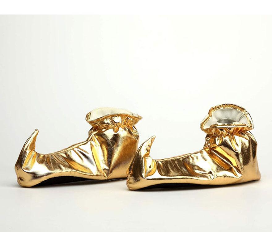 Babuchas de tela doradas para mujer. Talla 38-40. Perfectas para los disfraces de Elfos, Árabes y Pajes. También pueden usarse para niños.