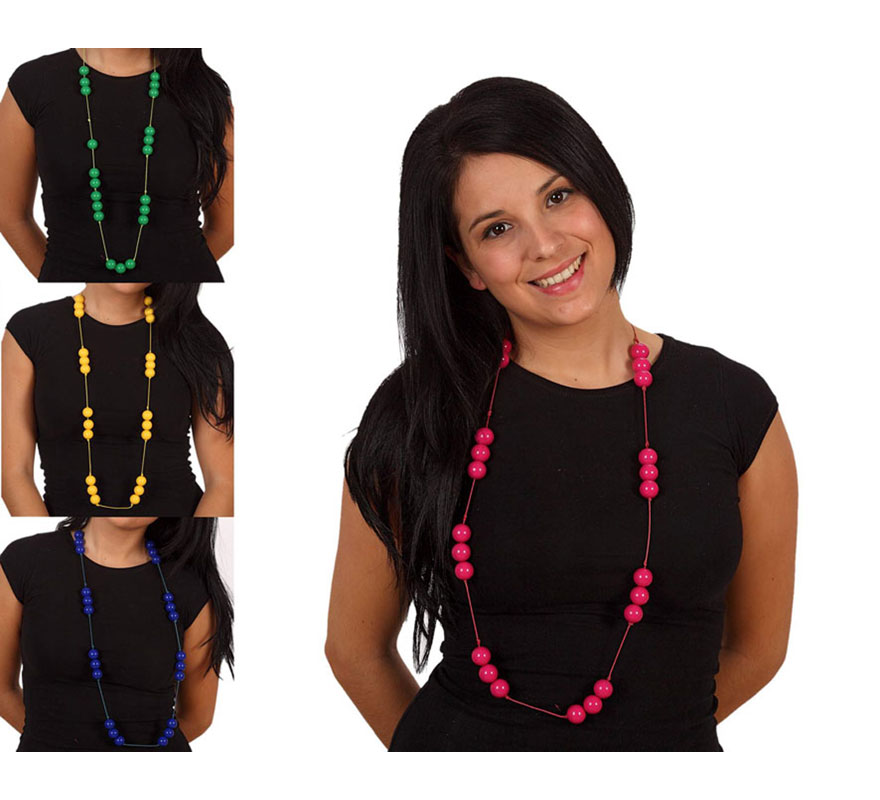 Collar Sevillana 100 cm. Disponible en 4 colores surtidos, precio por unidad, se venden por separado. El complemento ideal para los disfraces de Sevillana, Flamenca, Cordobesa, Gitana, etc.