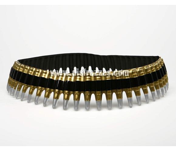 Cinturón de balas de PVC. Perfecto como Complemento para los disfraces de Militar, Rambo, etc.