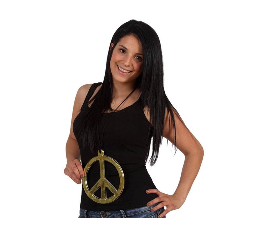 Colgante símbolo de la Paz dorado de 18 cm.