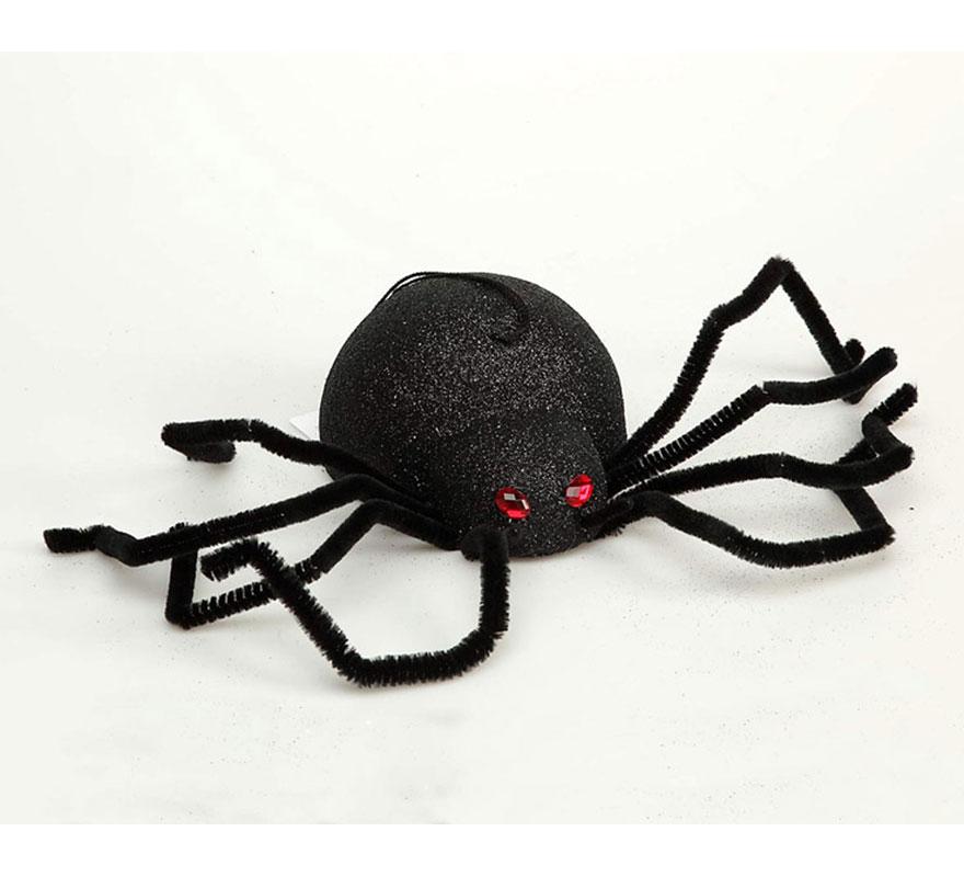 Araña negra de 20 cm para decoración de Halloween.
