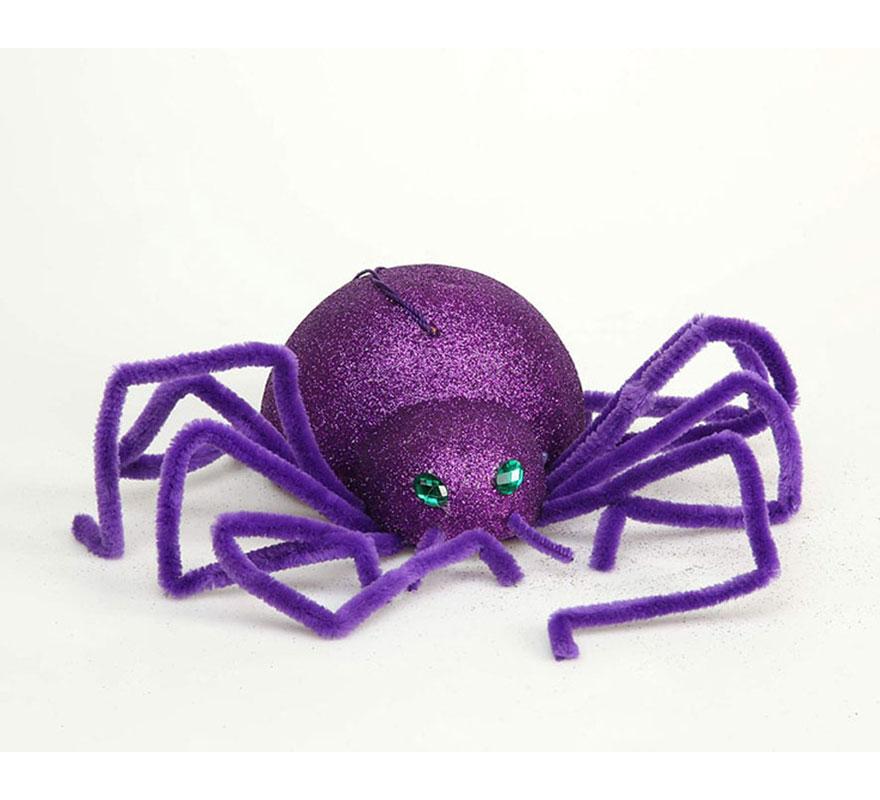 Araña violeta de 20 cm para decoración de Halloween.