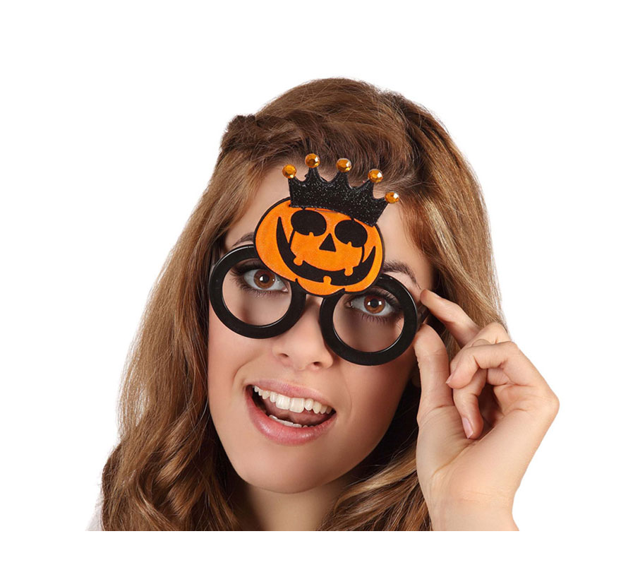 Gafas Calabaza con corona para Halloween.
