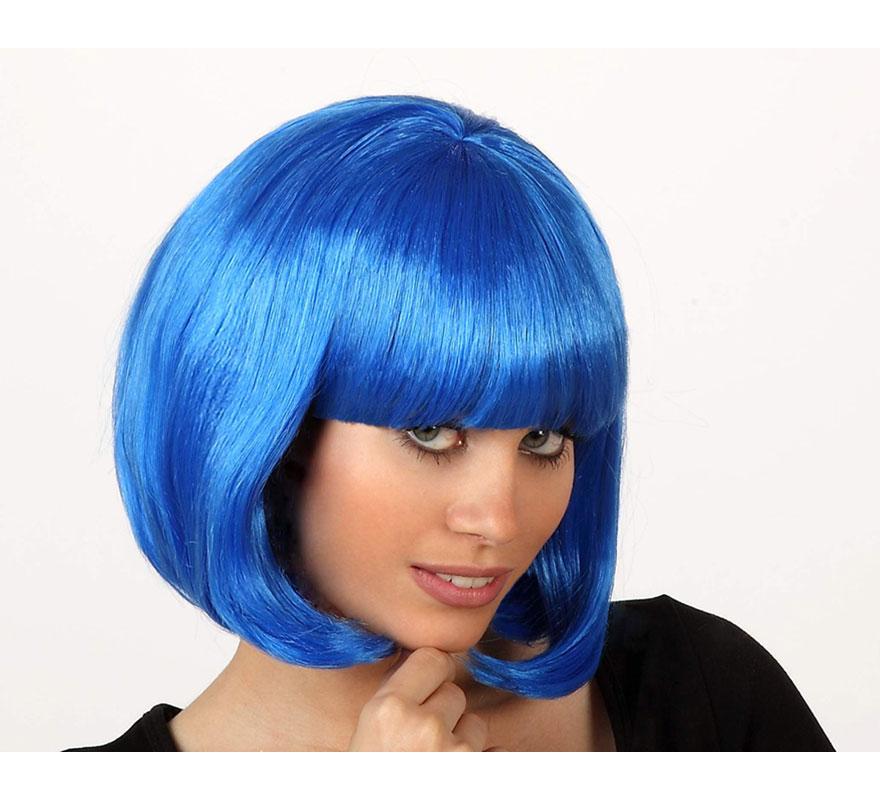 Peluca corta azul con flequillo. Ideal para Despedidas de Soltero.