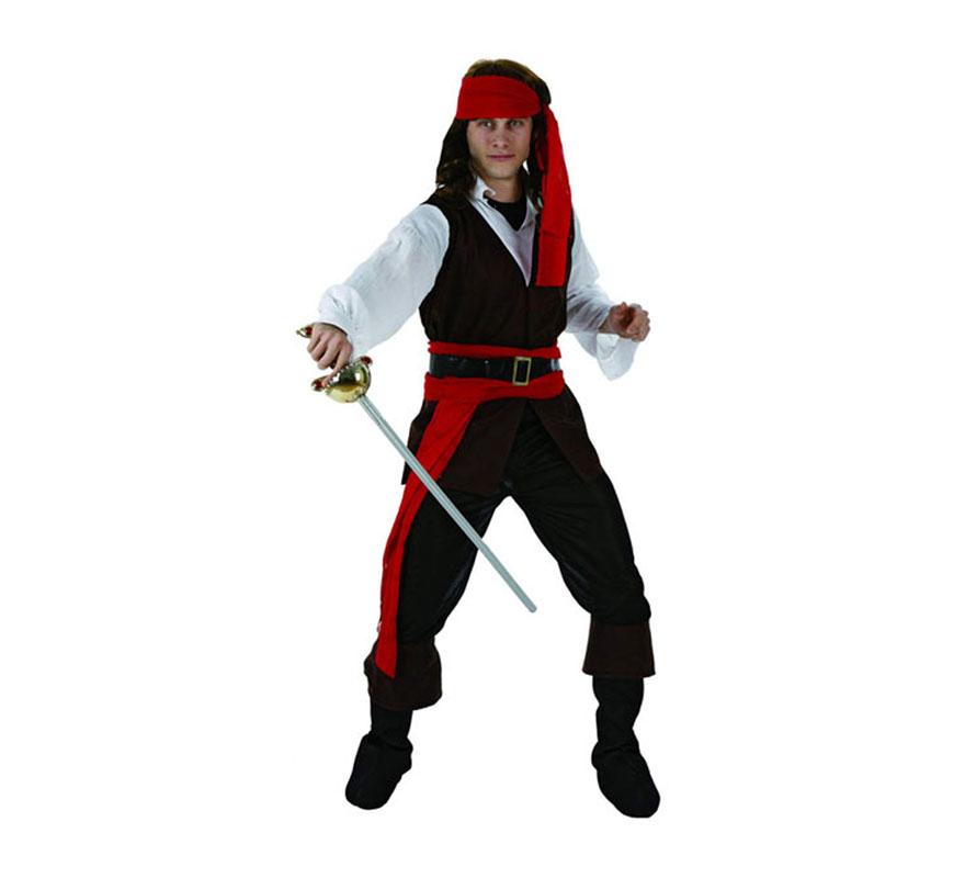 Disfraz barato de Pirata Caribeño para hombre. Talla 3 ó talla XL 54/58. Incluye traje completo. Espada NO incluida, podrás encontrarla en nuestra sección de Complementos. Disfraz de Pirata del Caribe para chicos. Disfraz de Pirata del Caribe para chicos grandes.