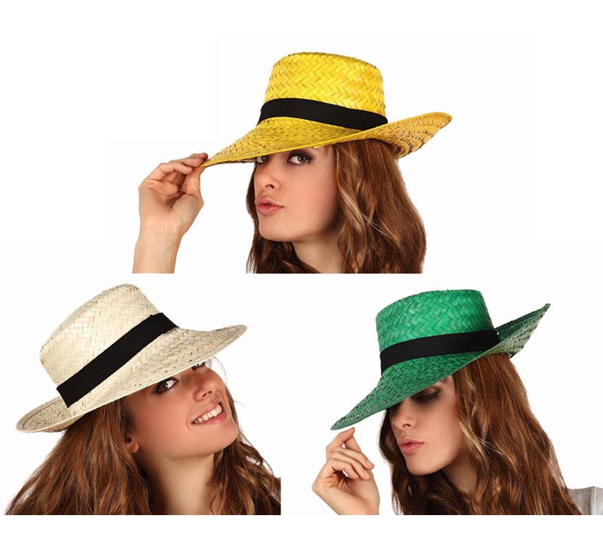 Sombrero paja con cinta negra. Tres colores surtidos. Precio por unidad, se venden por separado. Diámetro 36 cm y ala 10 cm.