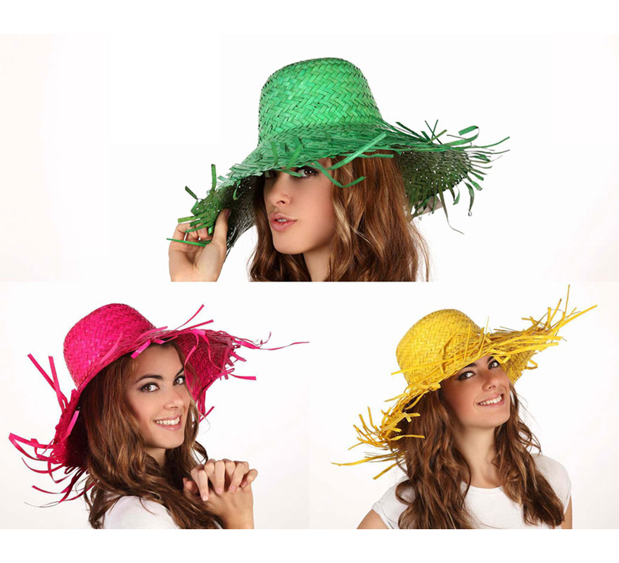 Sombrero de Palma de 39 cm diámetro y ala 19 cm. Tres colores surtidos. Precio por unidad, se venden por separado.