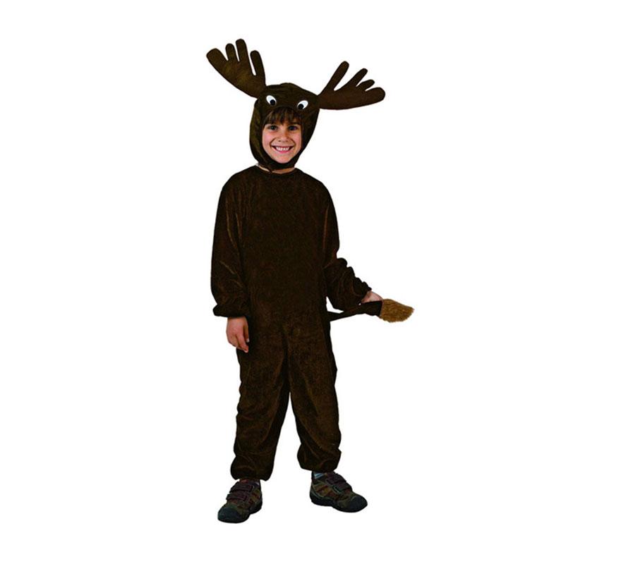 Disfraz de Reno negro para niños de 7 a 9 años. Incluye disfraz completo.