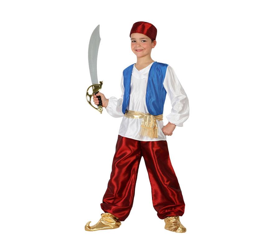 Disfraz de Príncipe Árabe granate para niños de 5 a 6 años. Incluye camisa con chaleco, pantalón, fajín, babuchas y gorrito. Espada NO incluida, podrás verla en la sección de Complementos. Éste disfraz también valdría como Paje Real de los Reyes Magos para Navidad.