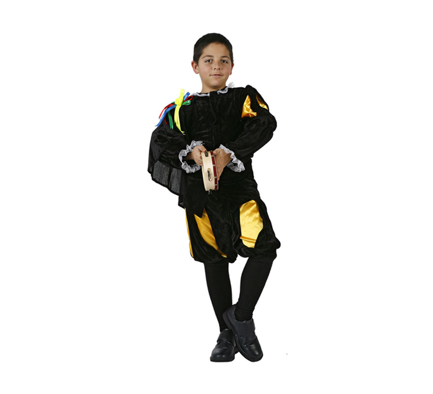Disfraz de Tuno para niños de 3 a 4 años. Incluye pantalón corto y camisa con capa. Pandereta NO incluida, podrás verla en la sección de Complementos.
