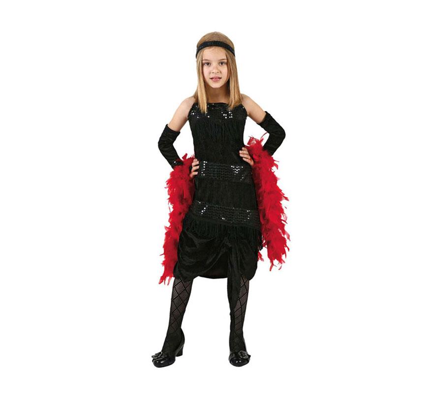 Disfraz de Charlestón negro para niñas de 7 a 9 años. Incluye vestido, guantes y cinta de la cabeza.