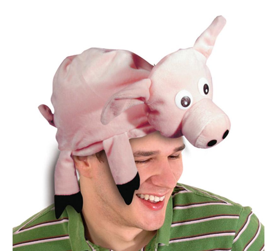 Gorro de Cerdito de 58-60 cm de diámetro. Gorra son forma de Cerdo muy original y divertida.