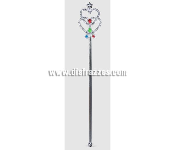 Varita Hada plata 38 cm. Ideal como complemento de tu disfraz de Hada Madrina o de Princesa.