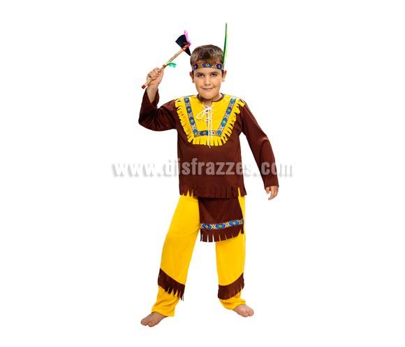 Disfraz de Indio Marrón Económico talla de 10 a 12 años. Incluye tocado, camisa y pantalón. Hacha NO incluida, podrás verla en la sección de Complementos.
