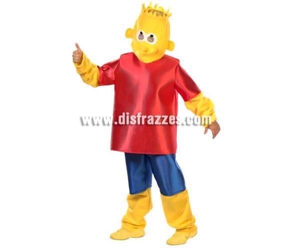 Disfraz de Bart Simpson adulto. Alta calidad. Talla única (50). Incluye traje completo con máscara. Zapatillas NO incluidas. Éste disfraz es ideal para Grupos o Comparsas y se pueden hacer varias tallas si el pedido es de una cantidad grande.