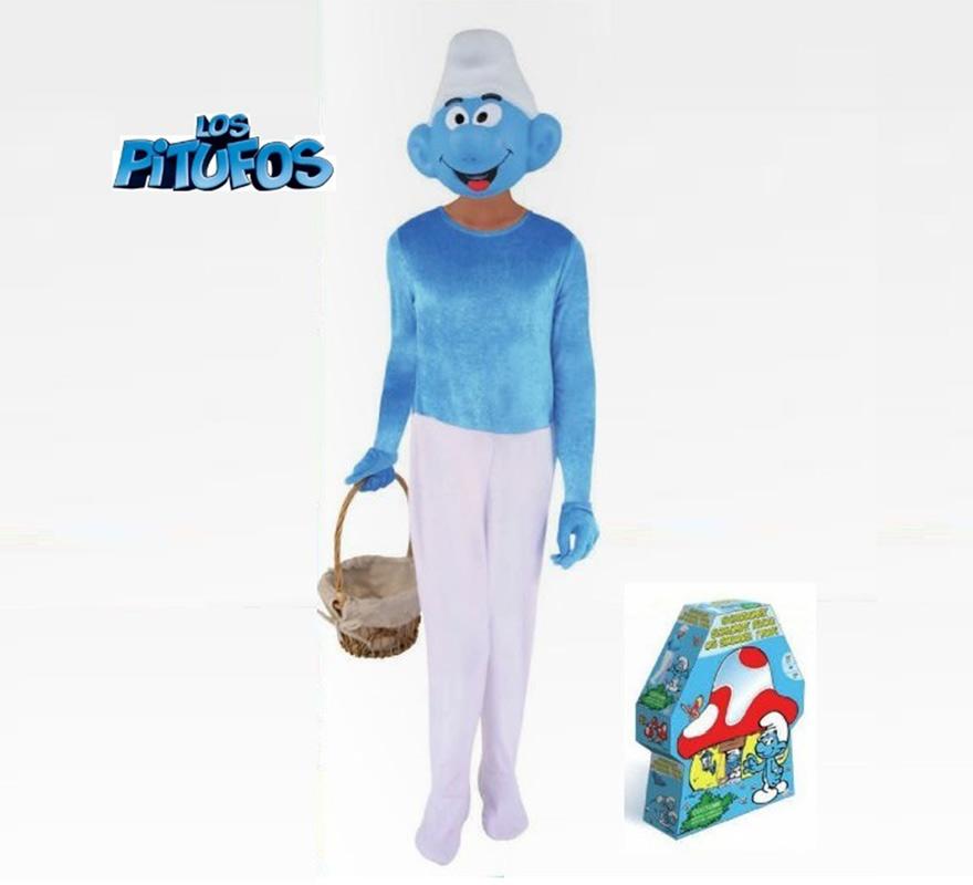Disfraz de Pitufo para niños. Varias tallas. Incluye disfraz, guantes y máscara. Presentación en caja regalo, perfecto para Reyes y Cumpleaños. Disfraz con lincencia.