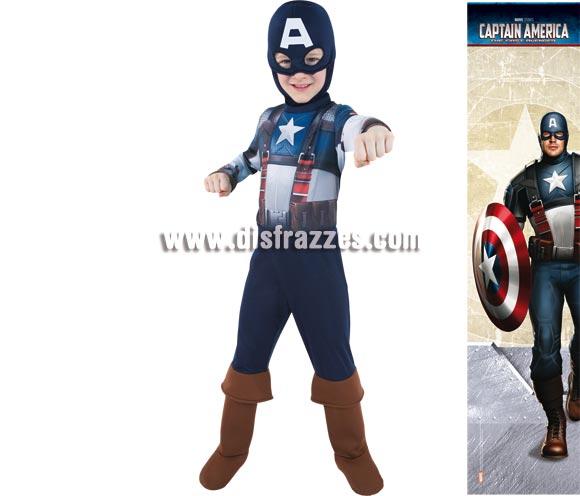 Disfraz de el Capitán América para niños. Varias tallas. Incluye disfraz con capucha y cubrebotas. Presentación en percha y bolsa. Disfraz con licencia MARVEL perfecto para regalar.