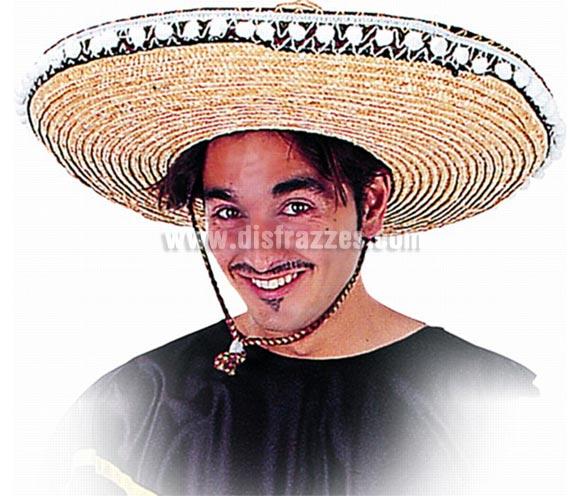 Sombrero Mejicano adulto deluxe de 44cm de diametro. Alta Calidad. Disponible en varios colores. La talla única disponible en el desplegable de tallas es igual al color paja que es el de la imagen.