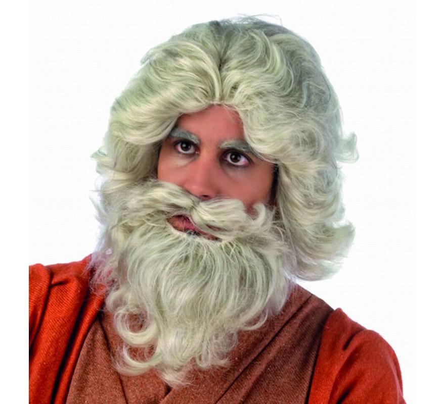 Peluca y barba de Moises Deluxe para hombre. Talla Universal.