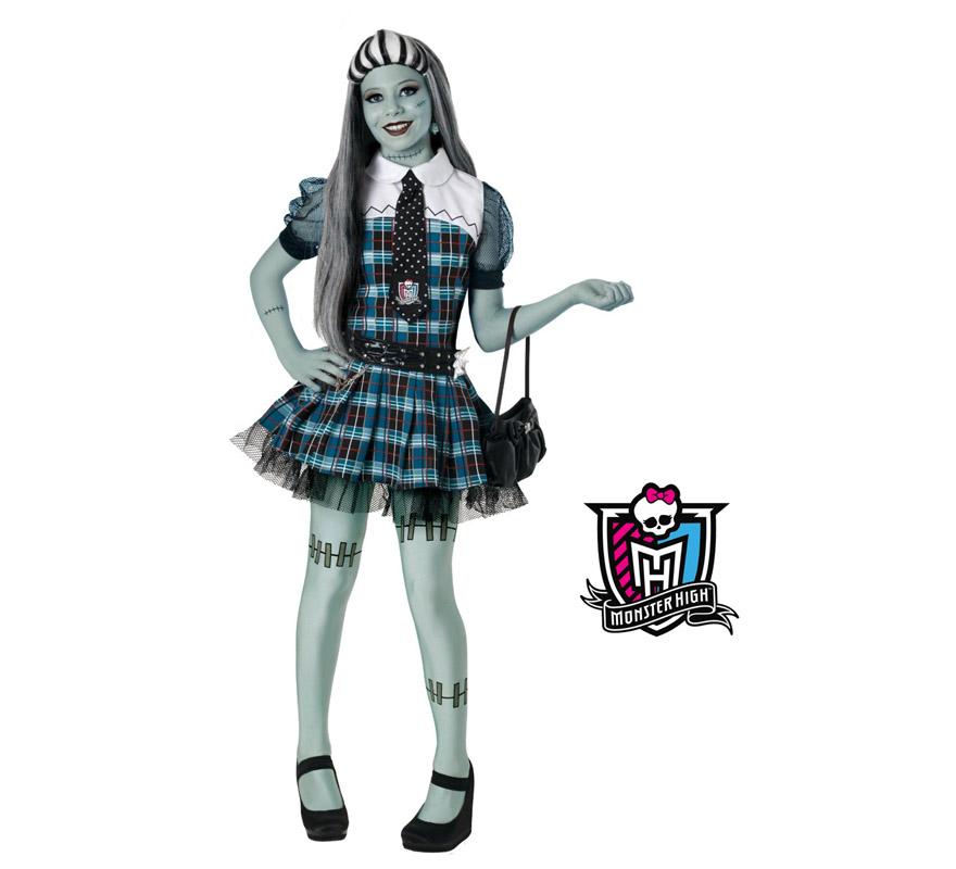 Disfraz de Frankie Stein de las MONSTER HIGH lujo para niñas. Disponible en varias tallas. Incluye top, falda, corbata, cinturón, leggins y peluca. Bolso NO incluido. Disfraz Exclusivo con licencia perfecto para regalar a cualquier niña moderna. Presentación en caja regalo.