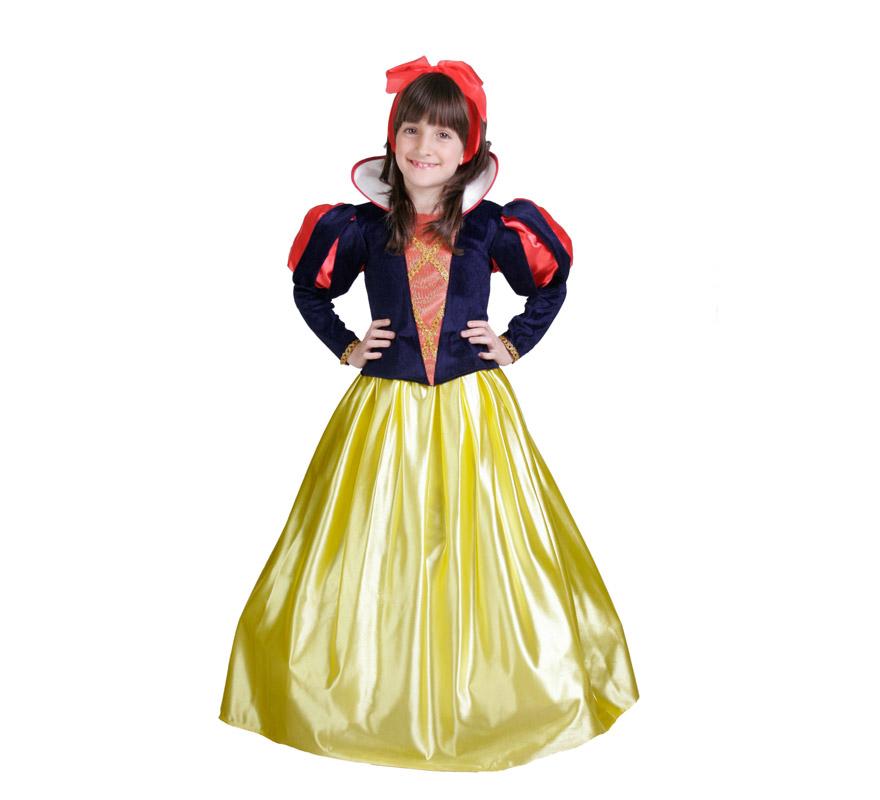 Disfraz de Blancanieves infantil. Alta calidad. Hecho en España. Disponible en varias tallas. Incluye vestido y tocado.