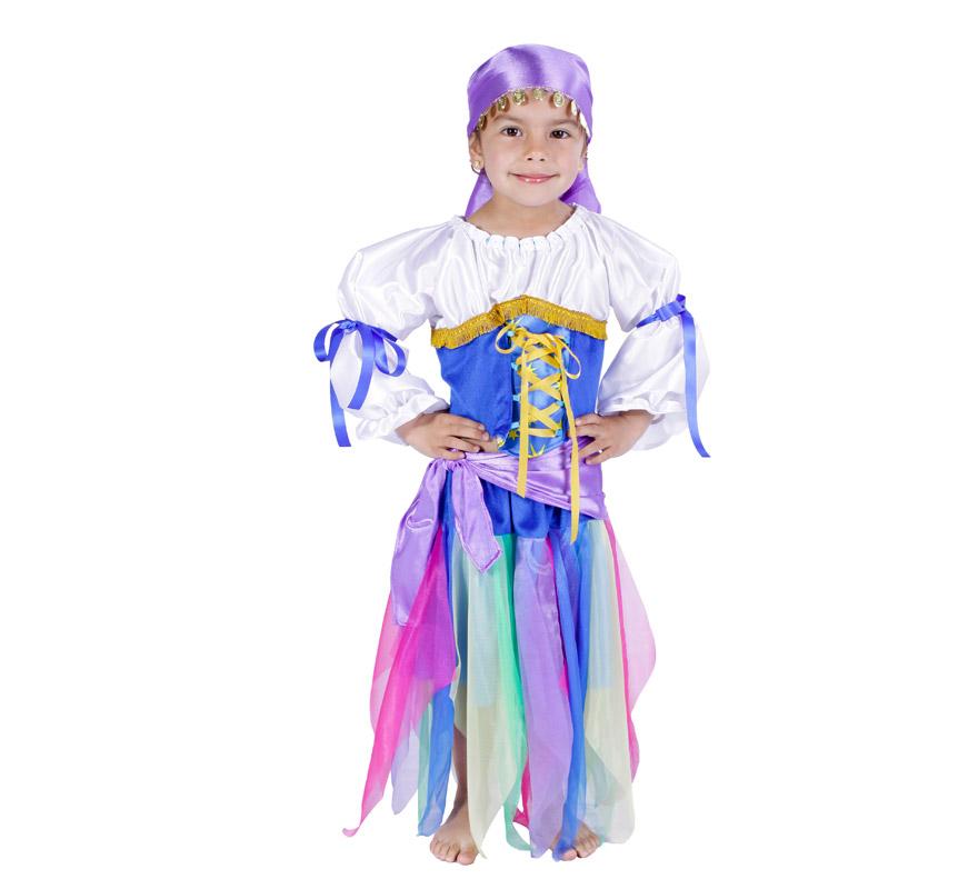 Disfraz de Zíngara infantil para Carnaval. Varias tallas. Alta calidad. Hecho en España.