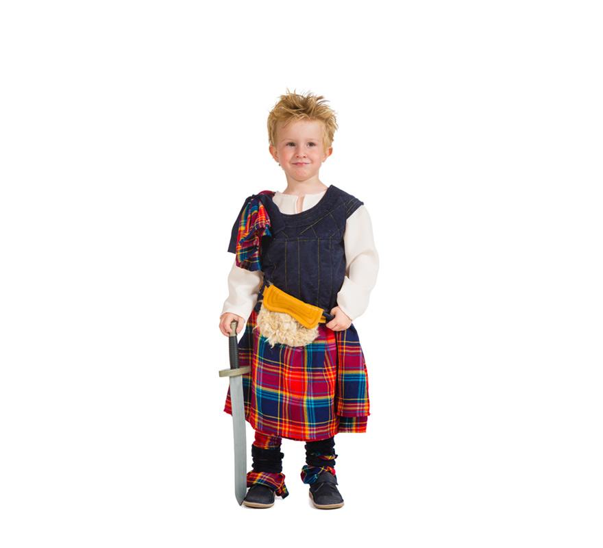Disfraz de Escocés para Niño en Varias tallas. Alta Calidad, hecho en España. Disfraz con el que tu niño imitará a William Wallace o Bravehearth... ¡Podrán quitarnos la vida, pero jamás nos quitarán la libertad!  Se compone de Chaleco con Camisa, Falda, Espinilleras y Bolsa de la cintura. Completa este disfraz con artículos de nuestra sección de accesorios como maquillaje, espada, escudo, peluca...